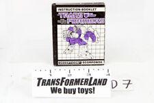 Scorponok Instructions Bases 1987 Vintage Hasbro G1 Transformers Action Figure