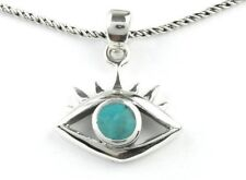 Evil Eye Necklace, Sterling Silver Eye Necklace, Turquoise Necklace, Meditation