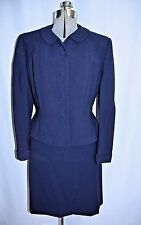 Vintage 1950's Whitley-ette Navy Wool Suit Fitted Jacket Size Med Metal Zipper