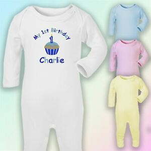 My 1st Birthday Cake - Boy Embroidered Baby Romper Babygrow Gift Personalised