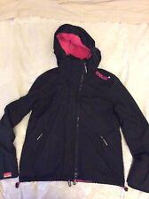 SUPERDRY Original Wind Cheater Jacket Coat Large 12 - 14 Black & Pink Fleece