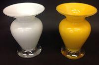 Alicija Orange White Glass Flower Vase With Wide Mouth and Waist Original Vase