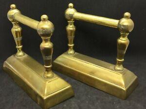 Pair Victorian Brass Fire Dogs