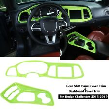 Green Dashboard & Gear Shift Panel Cover Trim Decor For Dodge Challenger 2015+