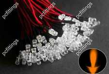 20P x 5mm Orange Pre Wired LED 5mm wired Amber Bulbs Light 12V 20cm Water clear
