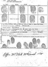 Jack Ruby's Fingerprint Card Autographed, JFK, John F. Kennedy,Lee Harvey Oswald