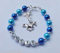 Girls Personalised Bracelet Pony Horse Charm Jewellery