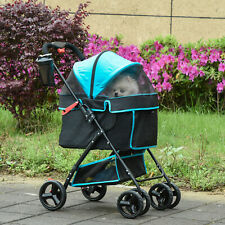 More details for pawhut foldable dog stroller pet cat travel pushchair trolley adjustable canopy