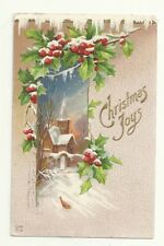Christmas Joy Church Holly Berries Snow Embossed  Postcard Antique