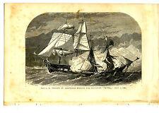 Historic Military War Ship U.S. Frigate St Lawrence-Antique Lithograph Art Print