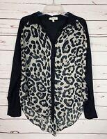 Umgee Boutique Women's M Medium Black Animal Print Long Sleeve Top Shirt Blouse