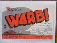 OLD VINTAGE QSL HAM RADIO CARD. DECATUR, GEORGIA. 1959