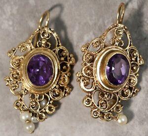 Antique 1930's 14K Yellow Gold Pearl Amethyst Chandelier Earrings