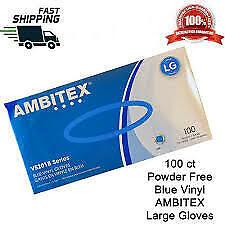 100 Ambitex Blue Powder Free Vinyl Large Gloves V5201B