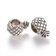 5 X PINEAPPLE BEAD BIG HOLE FOR EUROPEAN CHARM BRACELETS SILVER PLATED ALLOY