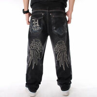 Mens Jeans Denim Embroidery Baggy Loose Hip Hop Trousers Wing Relaxed W30-W46