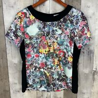 H&M Womens Size 6 Short Sleeve Blouse Black Floral Scoop Neck Stretch