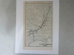 Original Vintage Map of St. Louis Southwestern Railway from 1904