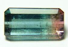 Natural bicolor watermelon tourmaline, 7.40ct 8x15x6mm,rectangular, Brazil 606