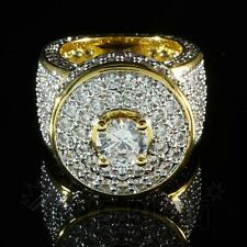 18K Gold Mens Hip Hop Ring Bling Out Iced Lab Simulated Diamond Micro-Pave Band