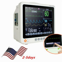 "12""Touch Screen Patient Monitor Vital Signs ECG Monitor NIBP RESP TEMP SPO2 PR"