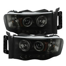 Dodge 02-05 Ram Black Smoke Dual Halo LED Projector Headlights Head Lamp