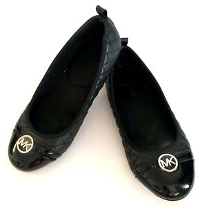 Michael Kors Mory 2 Skimmers Quilted  Black Ballet Flats Shoes 5 Patent Leather