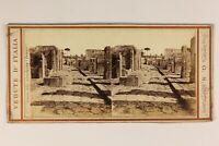 Italia Pompei Archeologia Ruines c1865 Foto Giorgio Sommer Stereo Vintage