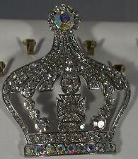 Plate Crown Pin Brooch Pendant Elegant Clear Ab Crystal Silver