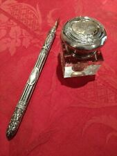 Old glass ink container marked silver + silver pen