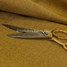 Herringbone Pattern Semi Plain Yellow Heavyweight Chenille Upholstery Fabrics