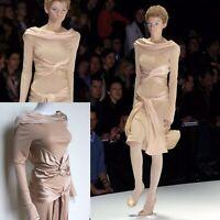 """Alexander Mcqueen 2004 """"Pantheon as lecum"""" Catwalk beige Silk dress 44 uk 10-12"""
