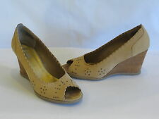 Kenneth Cole Reaction Beige Leather Suede Wedge Heels/Slides/Peep Toes-9M - GR8!