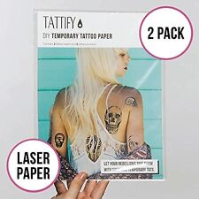 Tattify DIY Temporary Tattoo Paper 2 Pack For Laser Printers, Printable Long Las
