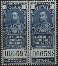 Canada Revenue VanDam # FEG8- 60c blue Elec & Gas Insp MNH pair - of 1930