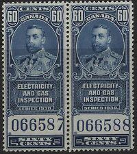 Canada Revenue VanDam # Feg8- 60c blue Elec & Gas Insp Mnh pair - of 1930