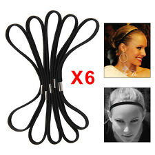 6Pcs Femme Bandeau Cheveux Bande Serre-tête Élastique Extensible Yoga Sport Noir