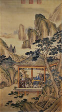 "Excellent Chinese Hanging Painting & Scroll ""弘历观荷抚琴图"" By Lang Shining 郎世宁 BL99"