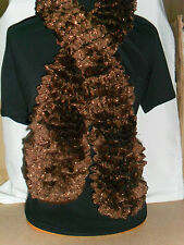 Ladies Hand Knitted Tango Glitz Scarf Brown Approx 130cm Long