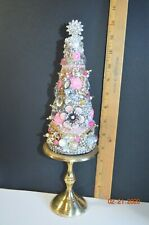 Pink Jeweled Rhinestone Cone Trees Table Top Decor Christmas 13.5 inch Lovely