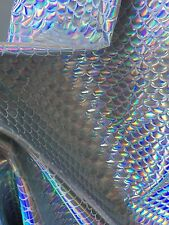 Stretch Mermaid Fish Scales White/silver Iridescent Foil Sold By Yard