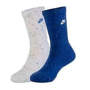 Nike Reflex Blue White Boys 5 to 7 Futura Speckle Socks 2Pack NEW