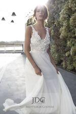 Neu Träger Brautkleid V-Ausschnitt Blüten Perlen Spitze Rückenrei Ivory Garten