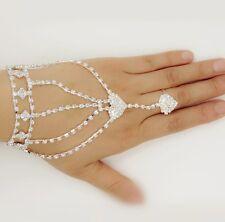 Ring Crystal Rhinestone Double Peach Heart Bracelet Bangle Hand Chain Bracelet