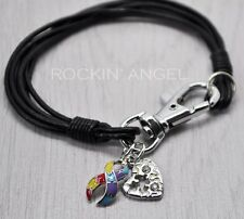 Real Black Leather Wristband Bracelet , Autism Puzzle Heart & Awareness Ribbon