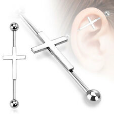 Surgical Steel Cross Design Ear Cartilage Piercing Industrial Barbell 14G 1.5""