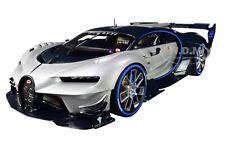"""BUGATTI VISION GRAN TURISMO """"16"""" SILVER & BLUE CARBON 1/18 CAR BY AUTOART 70987"""