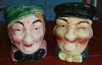 """2 Vintage Stamped Handpainted Japan Wall Pocket Lady Head Vase 4.5"""" T"""