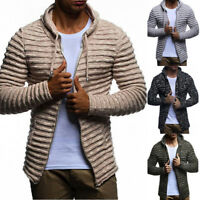 Fashion Mens Knit Cardigan Coat Casual Hooded Drawstring Sweater Autumn Outwear
