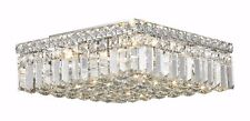 5-Lights 14'' Square Apollo Flush Mount Ceiling Crystal Chandelier Light